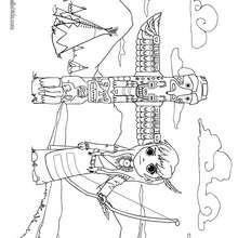 Desenho de uma menina numa tribo de índios para colorir