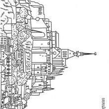 Desenho do Mont-Saint Michel para colorir