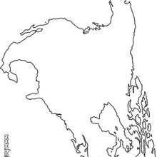 O mapa a América do Norte para colorir