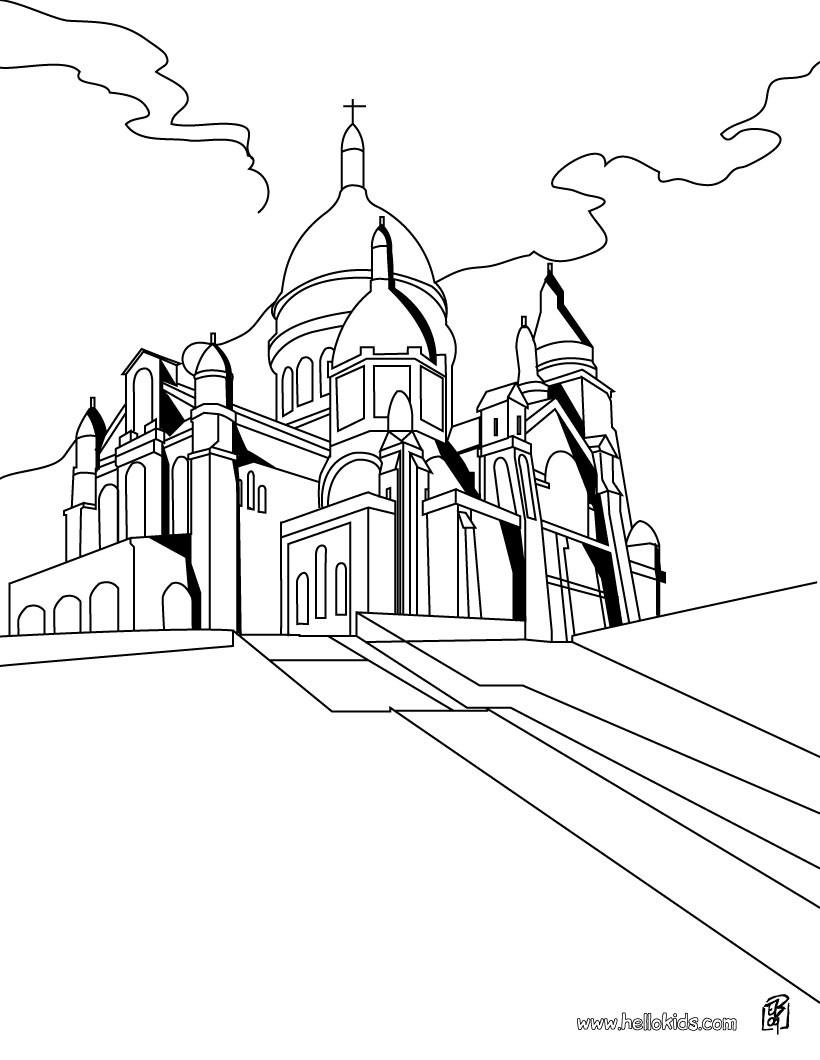 Desenhos Para Colorir De Desenho Da Igreja Notre Dame Para Colorir