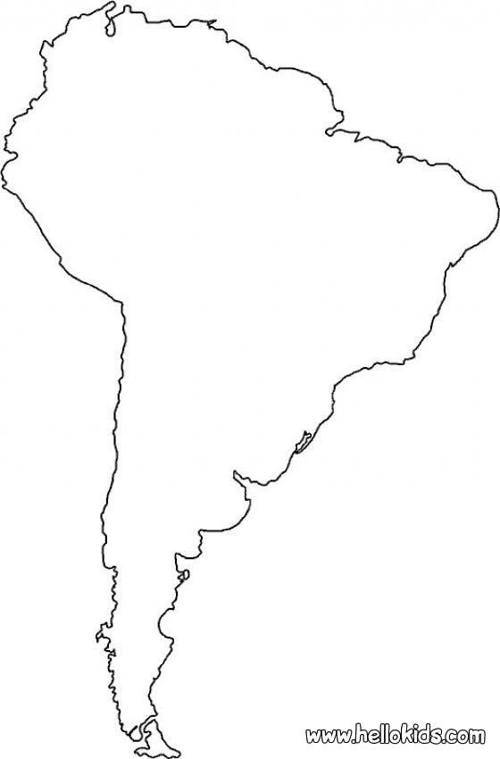 O mapa da América do Sul para colorir