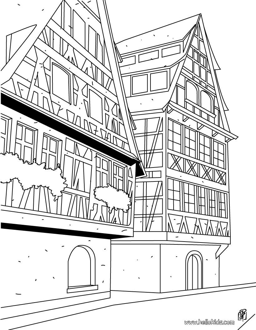 desenhos para colorir de desenho de uma t u00edpica casa de estrasburgo para colorir online