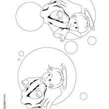 Desenho de dois anjinhos para colorir