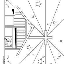 Desenho da estrela do Natal em Belém para colorir