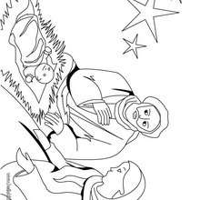 José, Maria, e o bebê Jesus para colorir