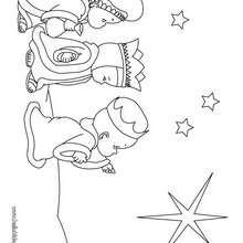 Desenho dos três Reis Magos para colorir