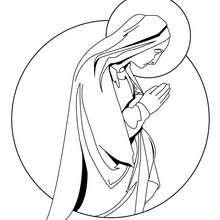 Desenho da Virgiem Maria para colorir