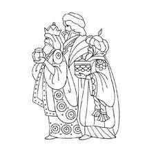 Desenho dos Reis Magos para colorir