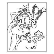 Desenho dos Três Reis Magos fazendo uma oferenda para colorir