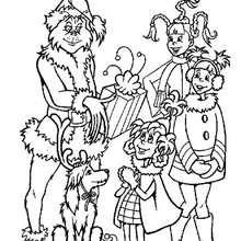 Desenho do Grinch com crianças para colorir