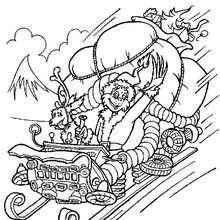 Desenho do Grinch trazendo os presentes de Natal para colorir