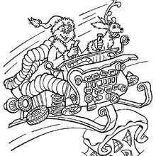 Desenho do Grinch no trenó para colorir