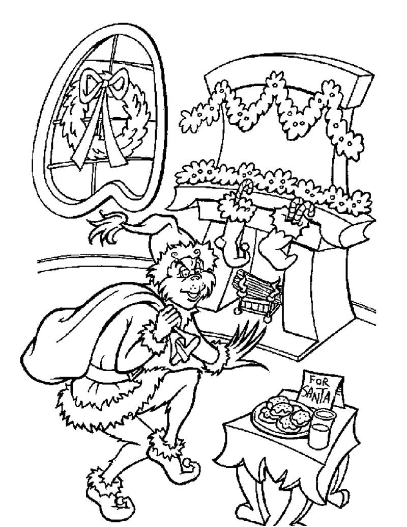 Desenho do Grinch roubando presentes para colorir online