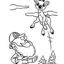 Desenho do Rodolfo, a rena do nariz vermelho pulando para colorir