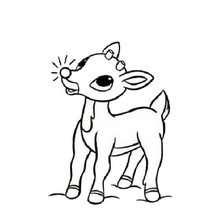 Desenho do Rodolfo, a rena do nariz vermelho para colorir