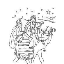 Desenho da jornada dos Três Reis Magos para colorir