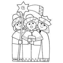 Desenho de mulheres fantasiadas de Reis Magos para colorir