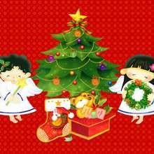 Papél de parede com árvore de Natal e anjinhos