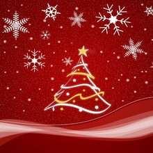 Papél de parede com uma árvore de Natal vermelha