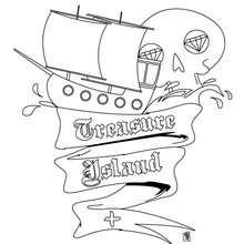A ilha do tesouro para colorir