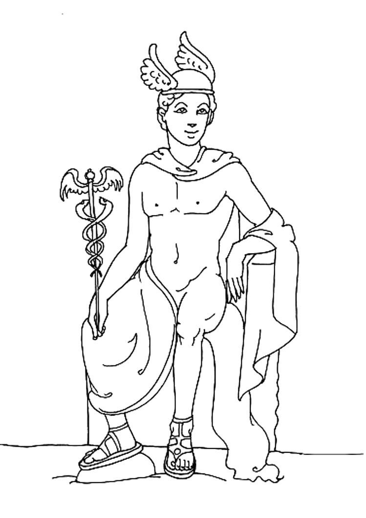 Desenho do HERMES o deus do Olimpodeusa do Olimpo para colorir