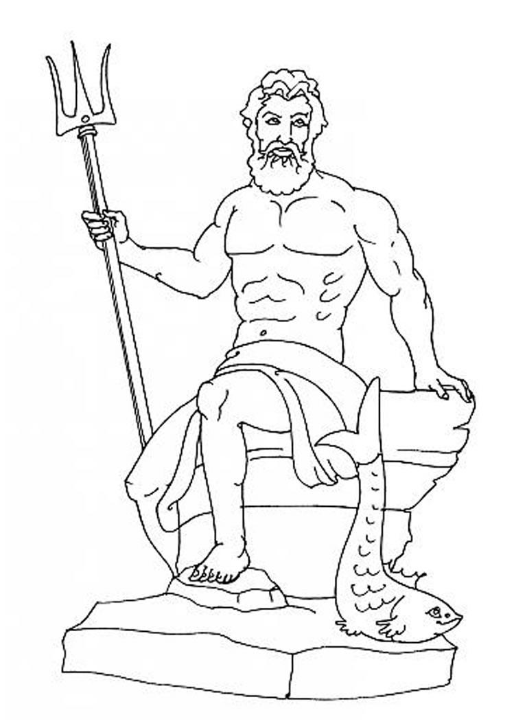 Desenho do POSEIDON o deus do Olimpo para colorir