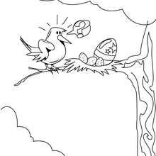 Desenho de um Pássaro de Páscoa no seu ninho para colorir