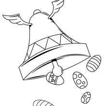 Desenho de para colorir de um sino com asas