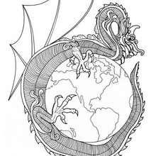 Mandala com um dragão do mundo