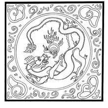 Mandala com um dragão e com chamas