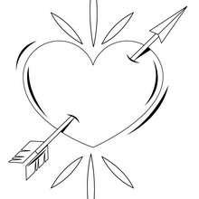 Desenho de um coração com uma seta para colorir