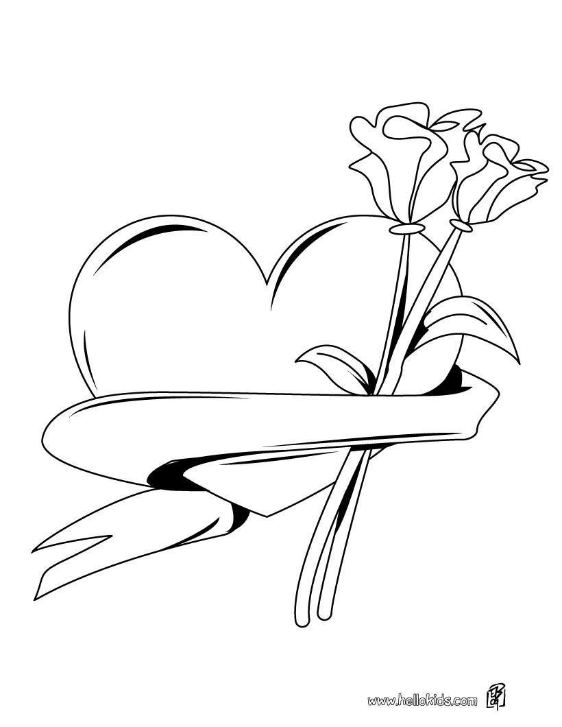 Desenhos Para Colorir De Desenho De Um Coracao Com Rosas Para