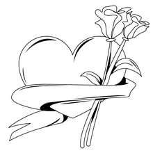 Desenho de um coração com rosas para colorir