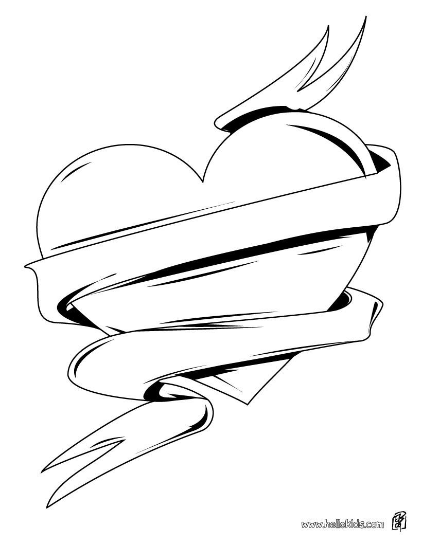 Desenho De Para Colorir De Um Cora    O De Amor