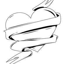 Desenho de para colorir de um coração de amor
