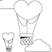 Desenho de para colorir de balões de ar quente em forma de coração