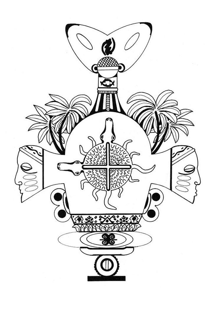Mandala com objetos de tribos africanas