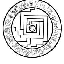 Mandala Asteca para colorir