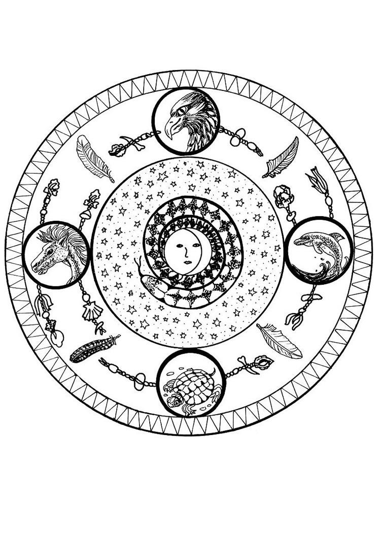 Desenhos Para Colorir De Mandala Dos Quatro Elementos Pt