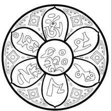 Mandala com um mantra Tibetano
