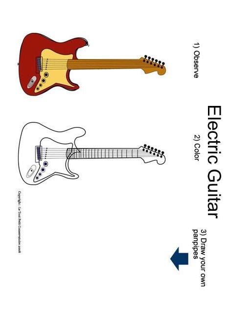 desenhos para colorir de desenho de uma guitarra para colorir pt