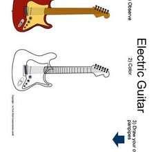 Desenho de uma guitarra para colorir