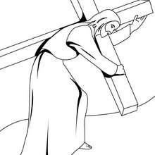 Desenho do Jesus carrehando a cruz para colorir