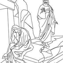 Jesus Cristo com a Maria Madalena para colorir