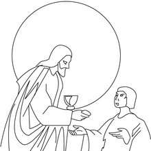 Desenho do Jesus com pão e vinho para colorir