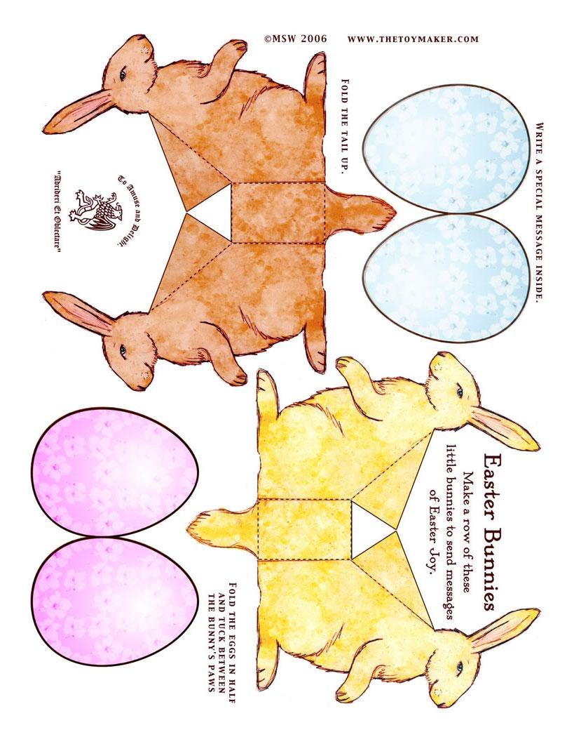 Brinquedos de papél de coelhinhos da páscoa