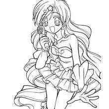 Desenho da Hanon de Mermaid Melody para colorir