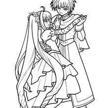 Desenho do Kaito com a Lucia para colorir