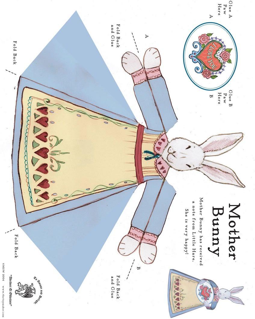 Brinquedo de papél da mamãe coelho