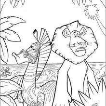 Desenho do Alex com a Marty para colorir